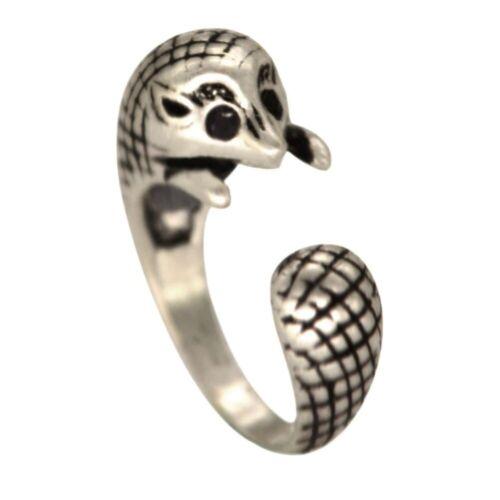 Silber Igel Ring Vintage Tiermotiv Verstellbare Finger Schmuck Maus Nager süß