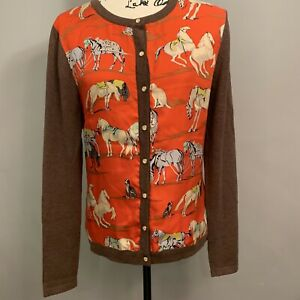 J-McLaughlin-S-Womens-Silk-Front-Cardigan-Sweater-Brown-Red-Horses-Equestrian