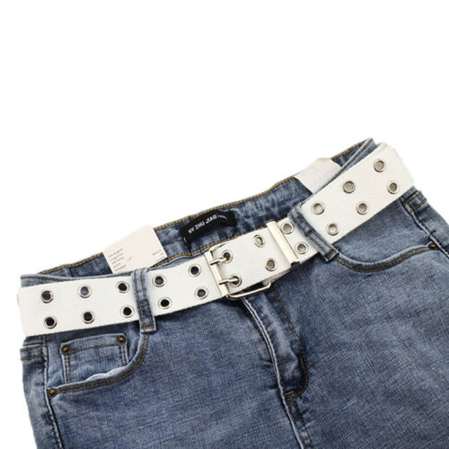 Women Studded Grommet Hole 2 Row Pin Buckle Canvas Nylon Belt Waistband 130TPI