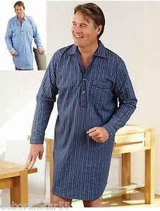 a8874bfbe6 Mens Nightshirt 100% Brushed Cotton Blue Navy Striped Night Shirt 5 ...