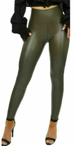 Ladies Womens  Skinny Wet Look Pu Faux Leather Leggings Trousers Shiny Bottoms