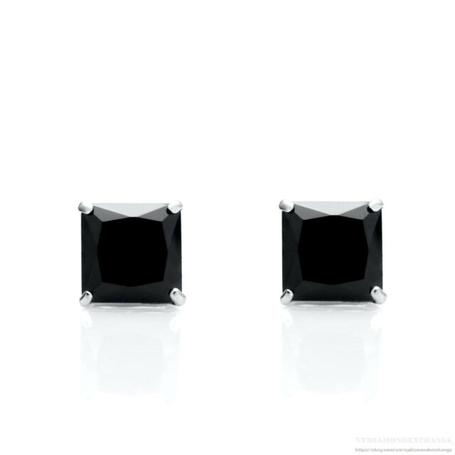 219227b37 2.50 Ct Princess Created Black Diamond Solitaire Earrings 14K Solid White  Gold