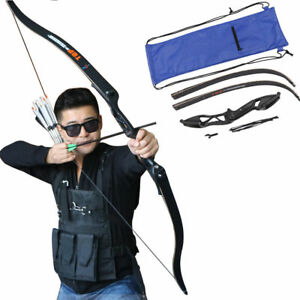 """New Archery 56/"""" Take Down Recurve Bow Outdoor Hunting Arrow Longbow 30-50lbs"""