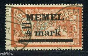 Memel-4mark-2fr-Aufdruck-1920-fette-4-Michel-31-I-y-PF-I-a-geprueft-S5939
