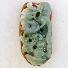 "BIG 3.125"" Chinese Carved A Grade Red & Green JADEITE Jade Dragon Pendant w/ COA"