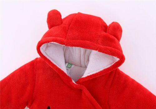 Newborn Baby Winter Warm Clothes Girl Boy Bear Velvet Hooded Jumpsuit Romper