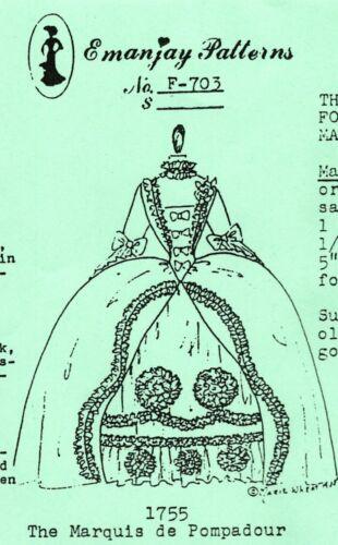 1:12 scale Emanjay Dollhouse Doll Clothes pattern#703 Marquis de Pompadour uncut