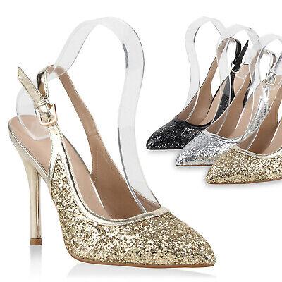 Damen Slingpumps Glitzer Pumps Metallic Stiletto Absatz 78706 Trendy | eBay