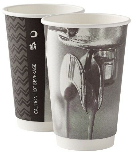1000 16oz Double Wall Barista Paper Coffee Tea Cups 2 Ply Insulated + Weiß Lids