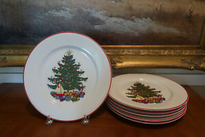 Cuthbertson-AMERICAN-CHRISTMAS-TREE-Dinner-Plates-6-Red-Rimmed-EUC
