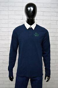 Polo-Uomo-BACI-amp-ABBRACI-Taglia-M-Maglia-Shirt-Manica-Lunga-Maglietta-Cotone-Blu