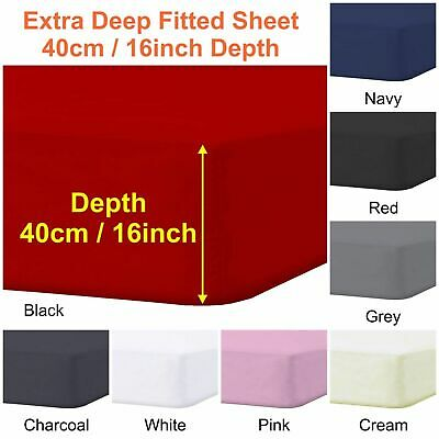 Polly Cotton Extra Deep Fitted Sheets 40cm Depth Single Double King Super King