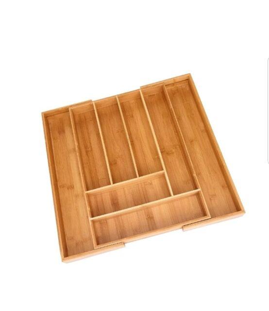 Bamboo Drawer Organizers Expandable Kitchen Multi Purpose Cutlery Tray