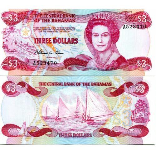 BAHAMAS 3 DOLLARS 1974 P-44 UNC 1984