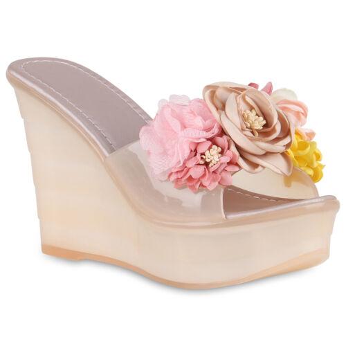Damen Sandaletten Plateau Pantoletten Keilabsatz High Heels Blumen 826198 Schuhe
