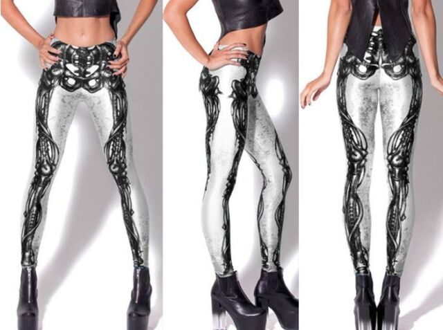 Skeleton Anatomy Artistic Black Gothic Graphic Print Tattoo Bones Leggings