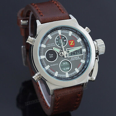 ZEIGER Stunning Sport  Analog & Digital Mens Military Watch Alarm Brown Leather