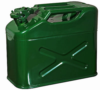 10 LITRE JERRY CAN METAL DIESEL OIL FUEL TRANSPORT PETROL 3 bar handle not 1 bar