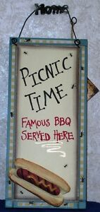 PICNIC-TIME-BBQ-SIGN-Famous-BBQ-Served-Here-5-5-034-x-12-034-Wood-Plaque-Country-Decor