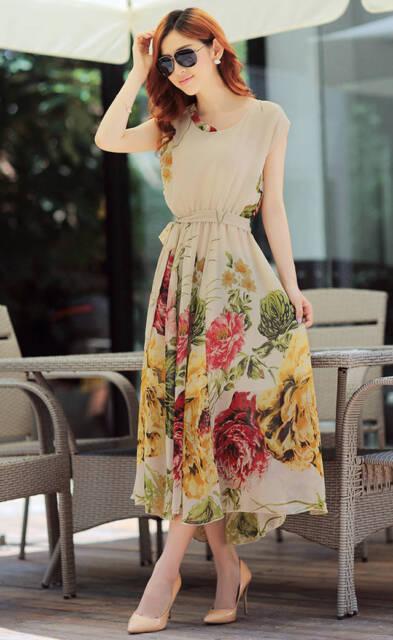 Fashion Floral BOHO Ball Gown Chiffon Summer Beach Short Sleeve Dress