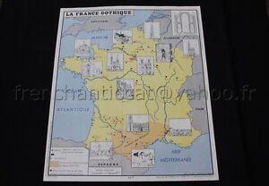 C758 Carte Scolaire Histoire France Gothique Debuts Guerre Cent Ans Rossignol Ebay