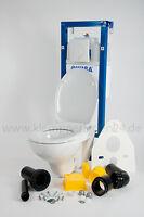 Wisa WC-Set, WC Vorwandelement 38cm, Bedienplatte weiß, Wand-WC, Pagette WC-Sitz