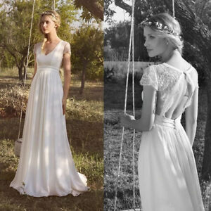 Details About Vintage Lace Boho Wedding Dress Bridal Gown Cap Sleeves Open Back Beach Country