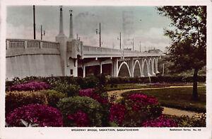 Broadway-Bridge-Saskatoon-Saskatchewan-Canada-early-postcard-Used-in-1941