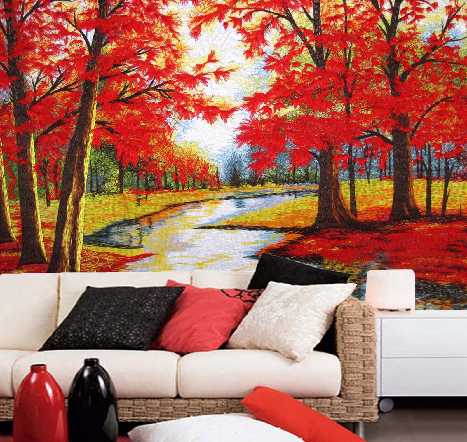 3D Fluss und Bäume 85 Fototapeten Wandbild Fototapete Bild Tapete Familie Kinder