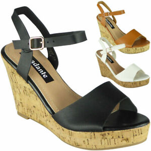Details zu Womens Peep Toe Sandals Ladies Summer Cork High Wedge Platform Buckle Shoes Size