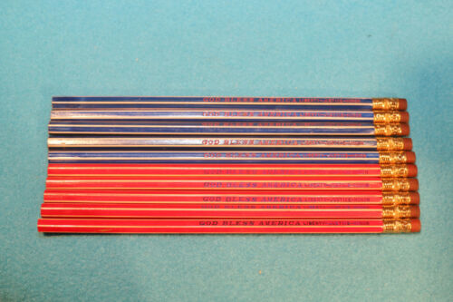 10 VINTAGE GOD BLESS AMERICA BLUE & RED STRIPPED PENCILS LIBERTYJUSTICEHONOR