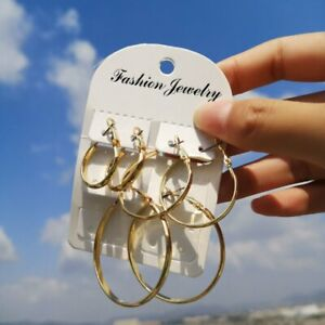 3Pairs-Set-Jewellery-Geometric-Big-Hoop-Circle-Shell-Dangle-Earrings-Womens-Gift