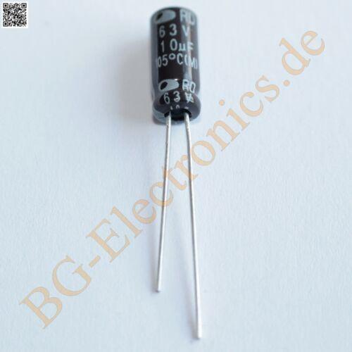 50 x 10µF 10uF 63V 105° RM2 Elko Kondensator Capacitor Rad Samwha E-Cap 50pcs