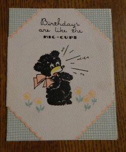 Birthday Wishes Hallmark Greeting Card Vintage Cute Black Bear