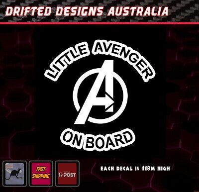 Little Avenger On Board - baby on Board White Funny Decal Marvel