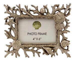 Silvertone-Coral-Seashells-Starfish-Coastal-4-X-6-Picture-Photo-Frame-Tabletop
