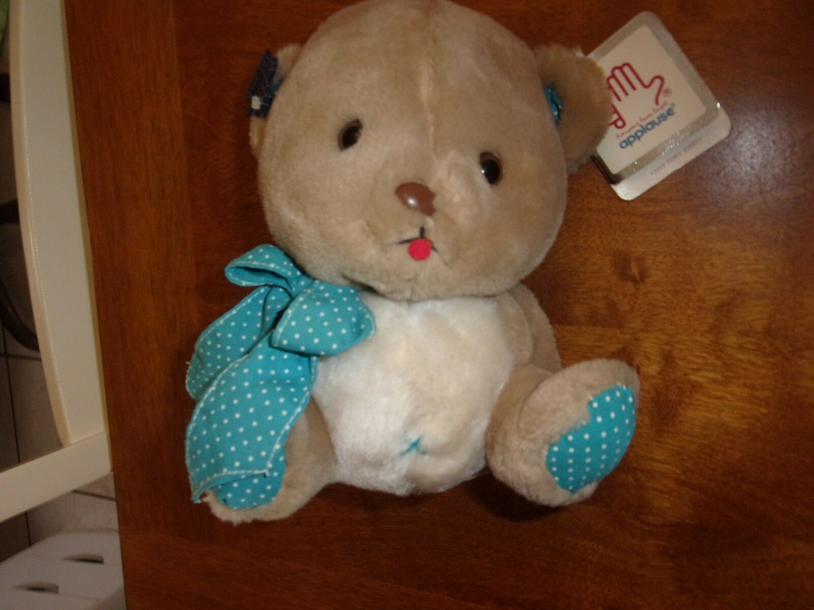 Applause Wallace Berrie Toby Teddy Bear tan bluee Polka Dot Plush Stuffed Toy 7