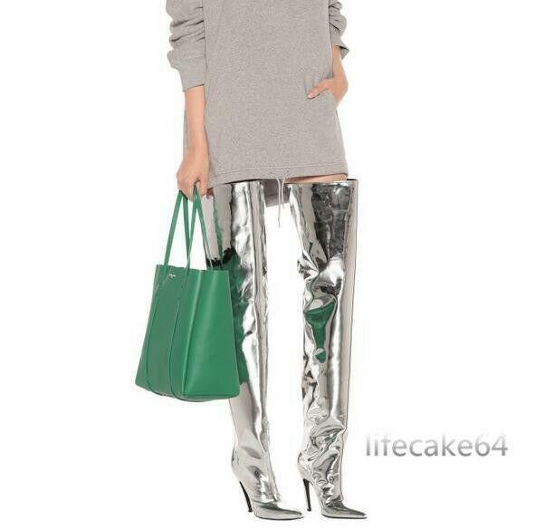 Modern Overkneestiefel Glitzer Damen Spitz Stiefel High Heels Lackleder Gr 35-48