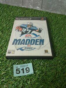 Madden NFL 2001 Sony Playstation 2 PS2 3+ juego de fútbol americano