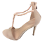 thumbnail 1 - Womens Ladies Beige Faux Suede High Heel T-Bar Party Sandals Shoes Size UK 7 New