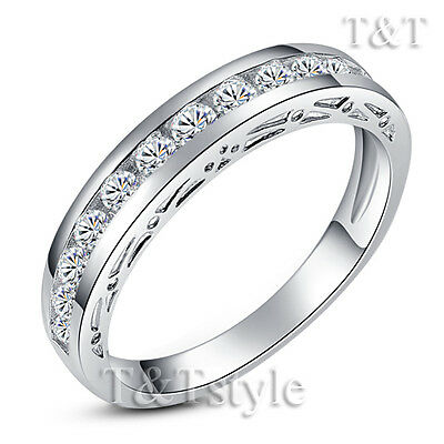 T&T 18K White Gold GP Engagement Wedding Band Ring Size 6 (RF40)
