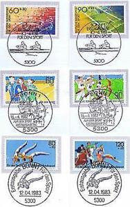 BRD-1981-1983-Sportmarken-Nummer-1094-1095-1127-1128-1172-1173-Stempel-Bonn