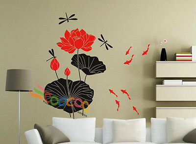 "Wall Decor Decal Sticker vinyl water lily flower asian Large 48""H"