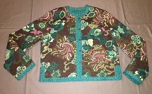 No-Label-reversible-cotton-quilted-Jacket-size-M-see-measurements
