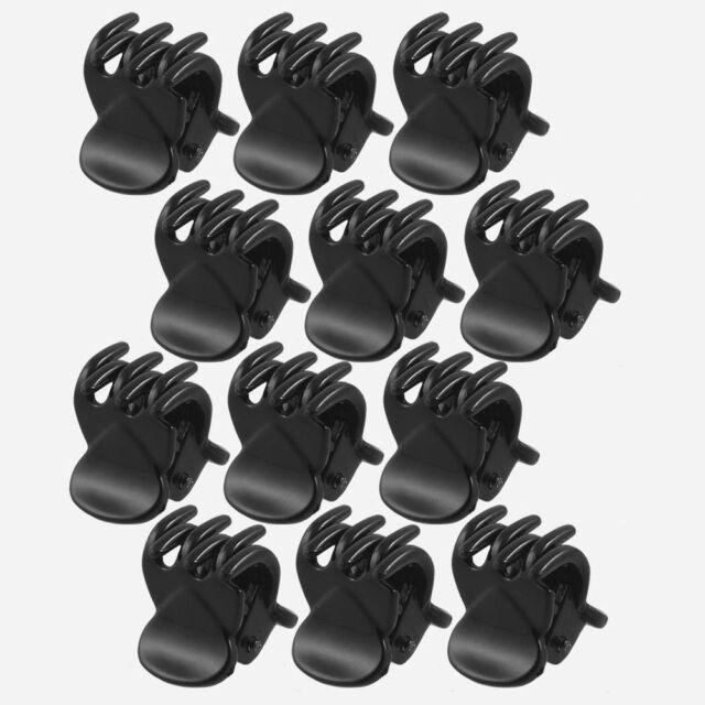 12 Pcs Fashion Black Mini Hairpin 6 Claws Plastic Women's Hair Clip Clamps Set