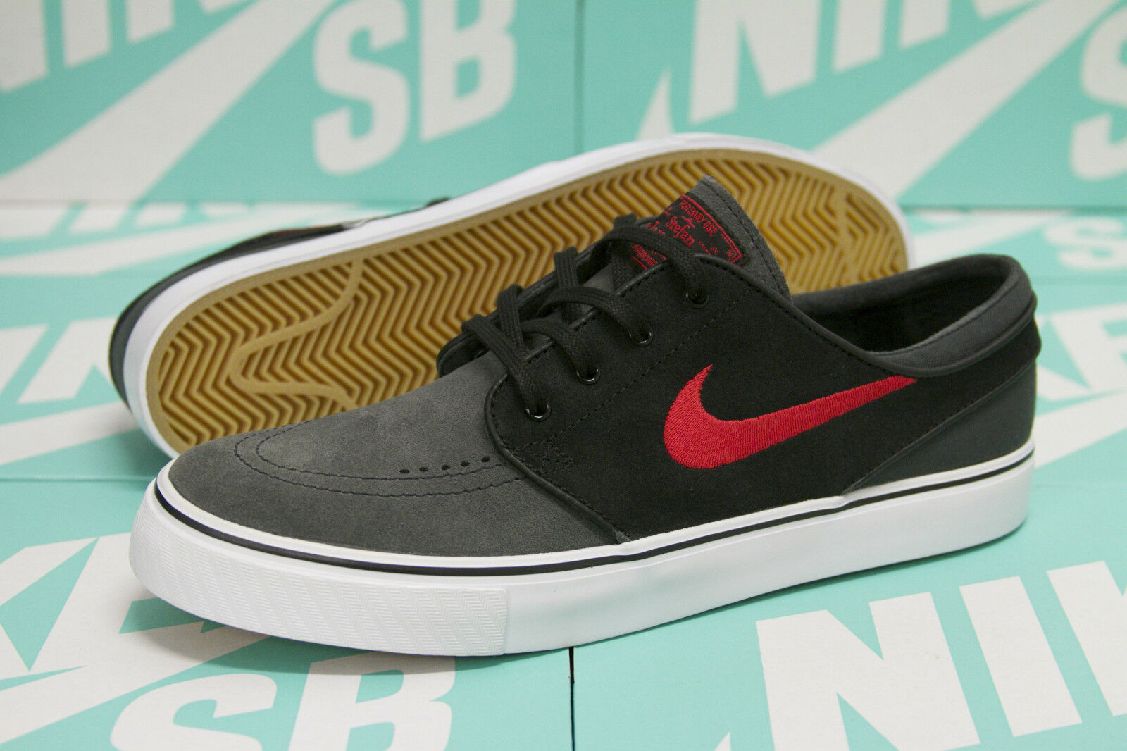 NIKE SB ZOOM STEFAN JANOSKI - ANTHRACITE   UNIVERSITY RED BLACK 333824 062 SZ 12