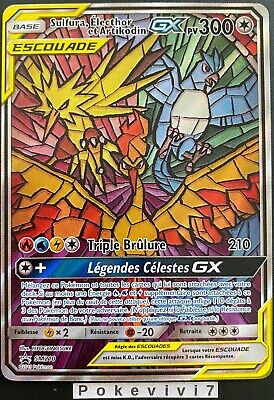 Carte Pokémon Sulfura Electhor et Artikodin GX sm210 Neuf Sceller Sl11,5