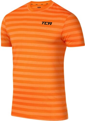 Orange TCA QuickDry Striped Mens Short Sleeve Training Top