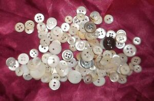 True VINTAGE button LOT! Mother of Pearl (shell) creme small scale DOLLS 100+ pc