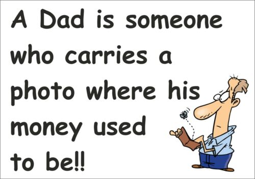 Funny Sign Secret Santa A Dad carries a photo where his money used to be